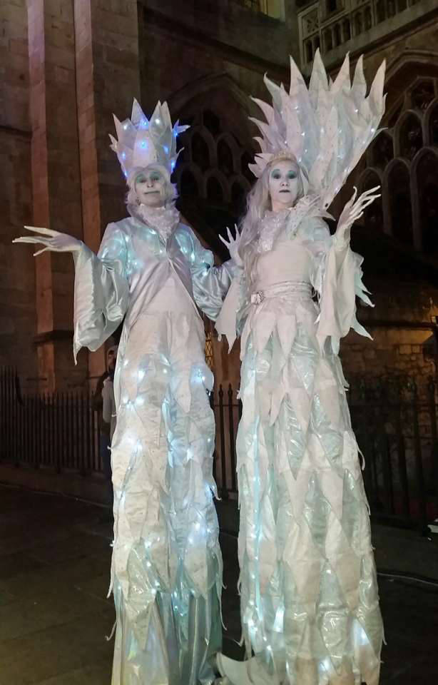 Ice Prince and Princess Stilt Walkers